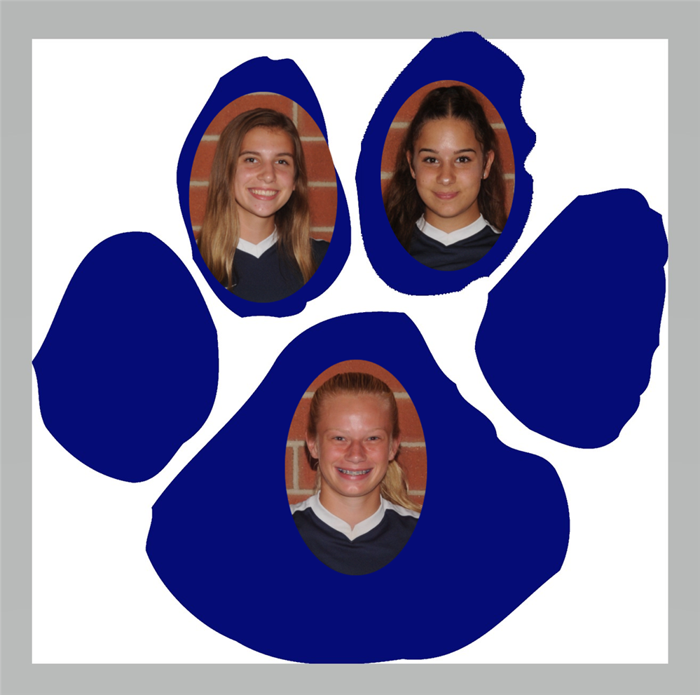 Image of WVC Soccer player Katy Starr, Amber Kochinski and Emily Ouimet with the paw